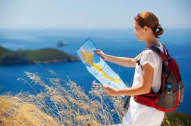 Tourist looking on Cyprus map